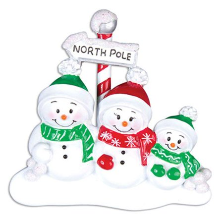 PERSONALIZED CHRISTMAS ORNAMENTS-NORTH POLE FAMILY OF 3 ()