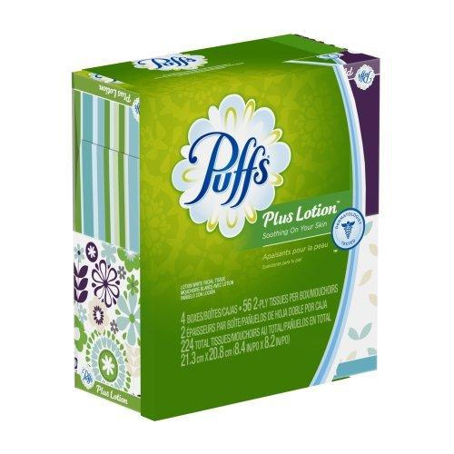 Puffs Plus Lotion Facial Tissues - 2 Ply - White - Soft, Strong - For Face, Skin, Multipurpose - 56 Sheets Per Box - 224 / Pack (34899ct)