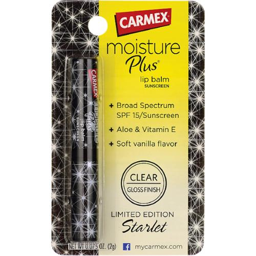 Carmex Moisture Plus Lip Balm SPF 15 Clear, Gloss Finish, Assorted Colors 0.08 oz (Pack of 6)