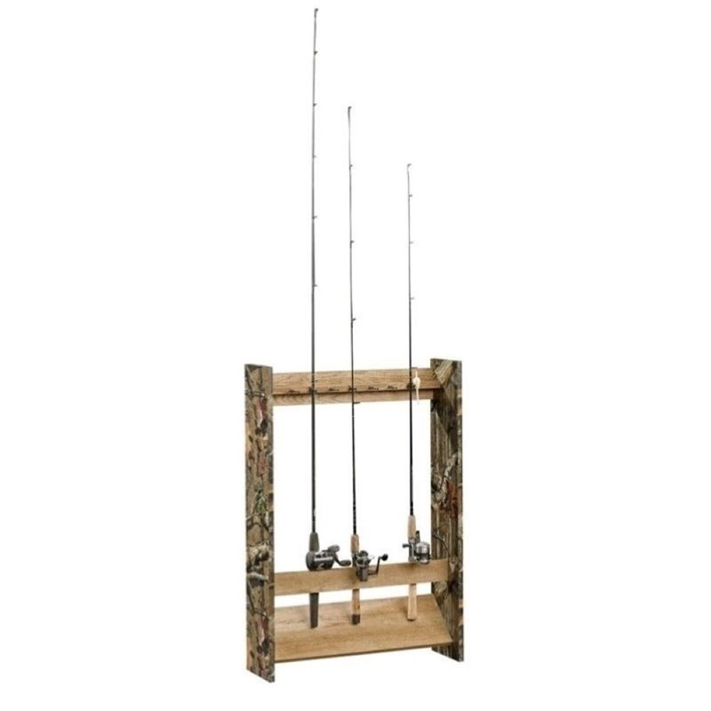 Pemberly Row Fishing Rod Rack in Scribed Oak by Pemberly Row