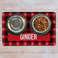 Personalized Christmas Plaid Pet Mat- Available in 2 Sizes