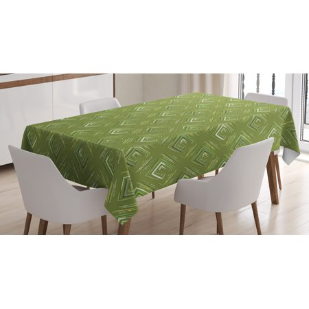 Olive Green Tablecloth, Grunge Geometric Pattern Square Shape Diagonal Abstract Rhombus, Rectangular Table Cover for Dining Room Kitchen, 60 X 84 Inches, Olive Green Yellow Coconut, by Ambesonne