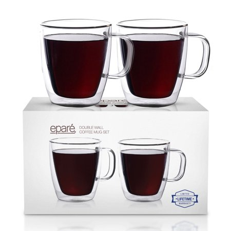 Epare Coffee Mugs - Clear Glass Double Wall Cup Set - Insulated Glassware - Best Large Coffee Espresso Latte Tea