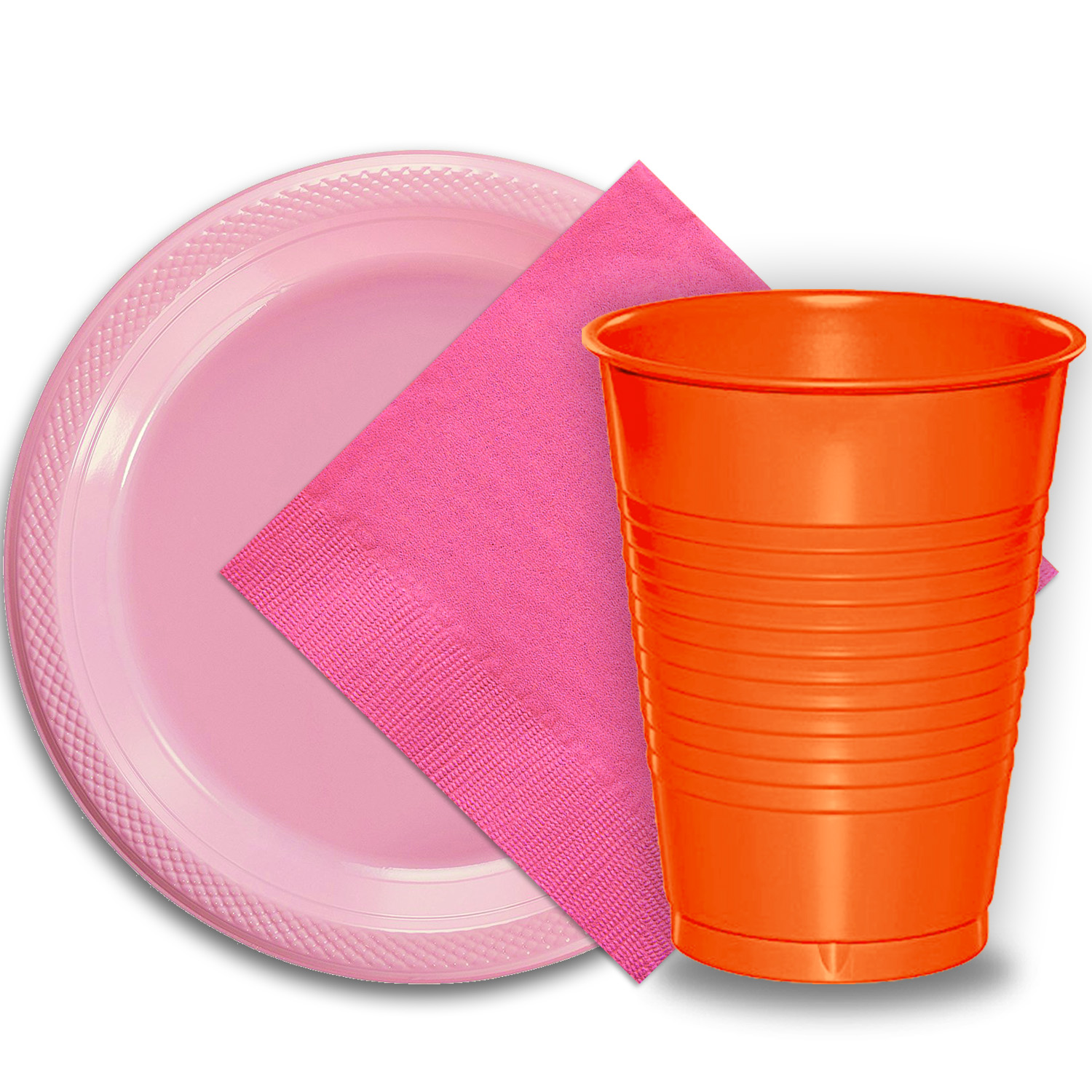 "50 Pink Plastic Plates (9""), 50 Orange Plastic Cups (12 oz.), and 50 Hot Pink Paper Napkins, Dazzelling Colored Disposable Party Supplies Tableware Set for Fifty Guests."