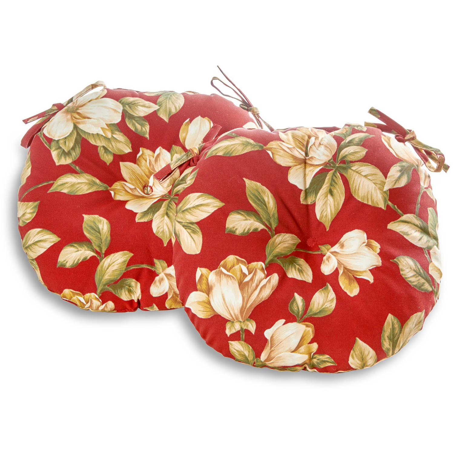 "Greendale Home Fashions 18"" Round Outdoor Bistro Chair Cushion, Set of 2, Roma Floral"