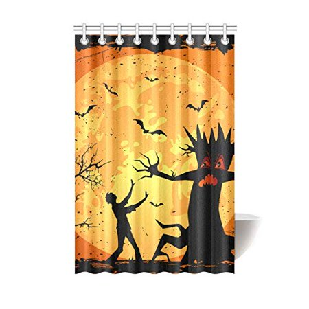 MKHERT Halloween Scary Tree Polyester Fabric Bathroom Shower Curtain 48x72 Inch