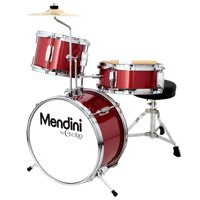 Mendini by Cecilio 13 Inch 3-Piece Kids / Junior Drum Set with Adjustable Throne, Cymbal, Pedal & Drumsticks, Metallic Red, MJDS-1-BR