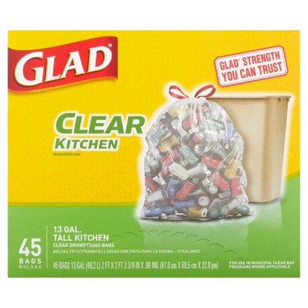 Glad Recycling Tall Kitchen Drawstring Trash Bags  Clear  13 Gallon  45 Count