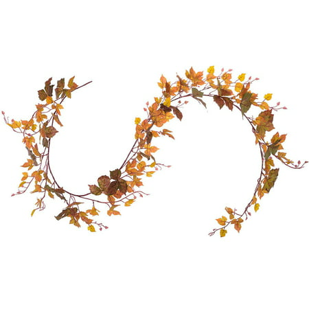 Coolmade Fall Maple Leaf Garland - 6.5ft/Piece Artificial Fall Foliage Garland Thanksgiving Decor for Home Wedding Party Christmas