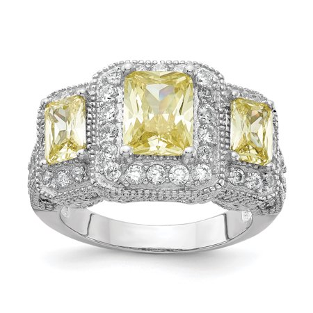 925 Sterling Silver Canary White Cubic Zirconia Cz 3 Stone Band Ring Size 6.00 Gifts For Women For Her