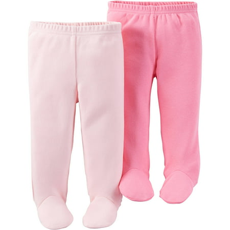 Child Of Mine By Carteru0026#39;s Newborn Baby Girl Footed Pants 2-Pack - Walmart.com