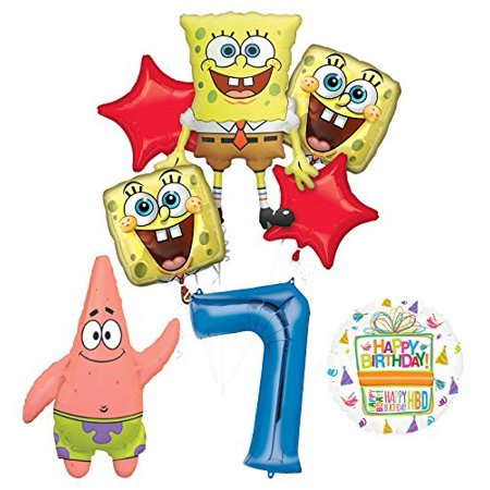 Spongebob Squarepants 7th Birthday Party Supplies and Balloon Bouquet Decorations - Spongebob Party Decoration
