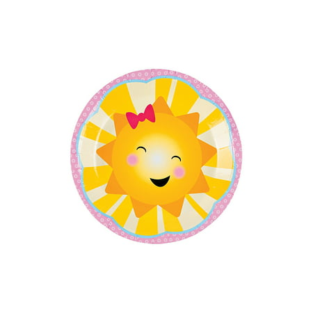 Fun Express - You Are My Sunshine Dessert Plates (8pc) for Birthday - Party Supplies - Print Tableware - Print Plates & Bowls - Birthday - 8 Pieces - Party Plates And Bowls