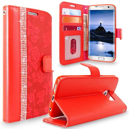 S7 Edge Case, Galaxy S7 Edge Case, Cellularvilla [Diamond Jewel] Embossed Flower Design Premium PU Leather Wallet Case [Card Slots] Folio Flip Cover For Samsung Galaxy S7 Edge ()