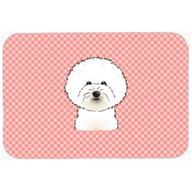 Checkerboard Blue Bichon Frise Mouse Pad, Hot Pad Or Trivet, 7.75 x 9.25 In.