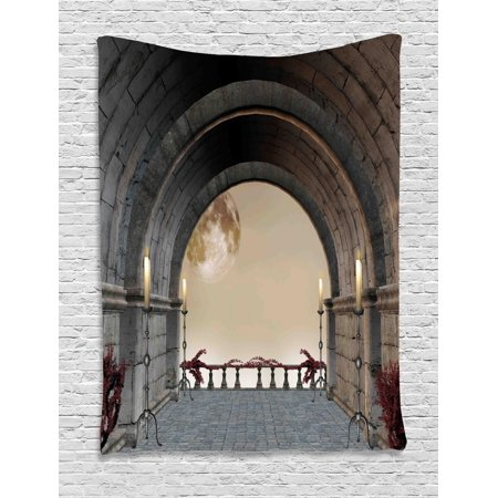 Gothic Tapestry, Middle Age Balcony of Stone Castle with Candles Renaissance Inspired Vintage Design Print, Wall Hanging for Bedroom Living Room Dorm Decor, Grey, by Ambesonne (Gothic Mansion Wall Decor)