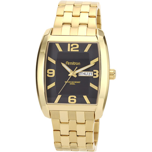 Armitron Men's Black Dial Gold-Tone Cushion Day-Date Watch, Stainless Steel