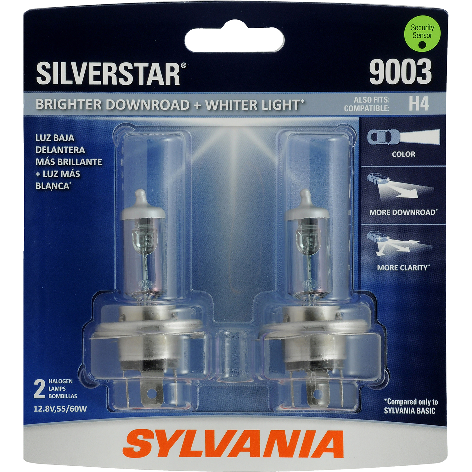 SYLVANIA 9003 SilverStar Halogen Headlight Bulb, Pack of 2