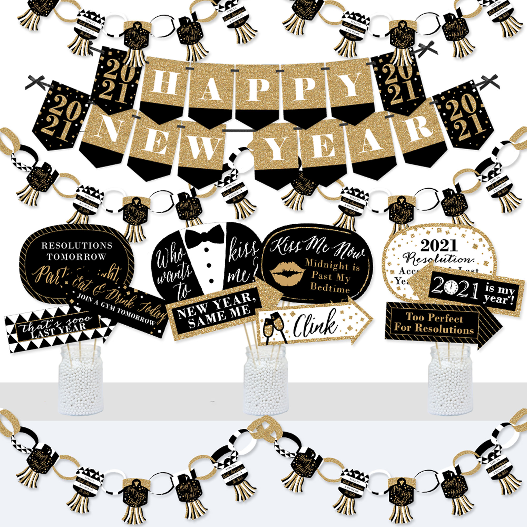 Funny New Year/'s Eve Party Banner Gold Glitter Mid Night New Years Banner New Decade Who Dis?