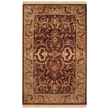Linon Rosedown 8' x 10' Hand Tufted Wool Rug in Burgundy and - Burgundy Hand Tufted Wool Rug