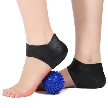 Bone Spear - 1 Pairs Heel Pain Relief Protector Sleeves with a Hard Spiky Massage Ball and Heel Support Cushions for Heel Bone Spur, Plantar Fasciitis, and Dry Cracked Heels, Fits Both Women and Men