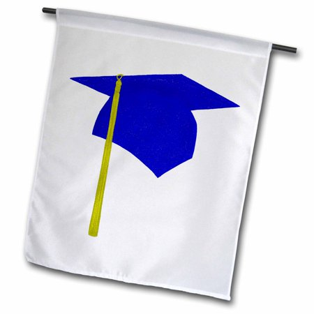 3dRose Blue Cap and Yellow Tassel Graduation - Garden Flag, 12 by 18-inch - Graduation Flags