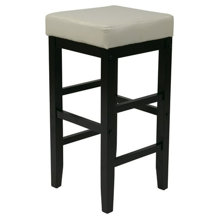 "OSP Designs 30"" Square Cream Faux Leather Barstool with Espresso legs"