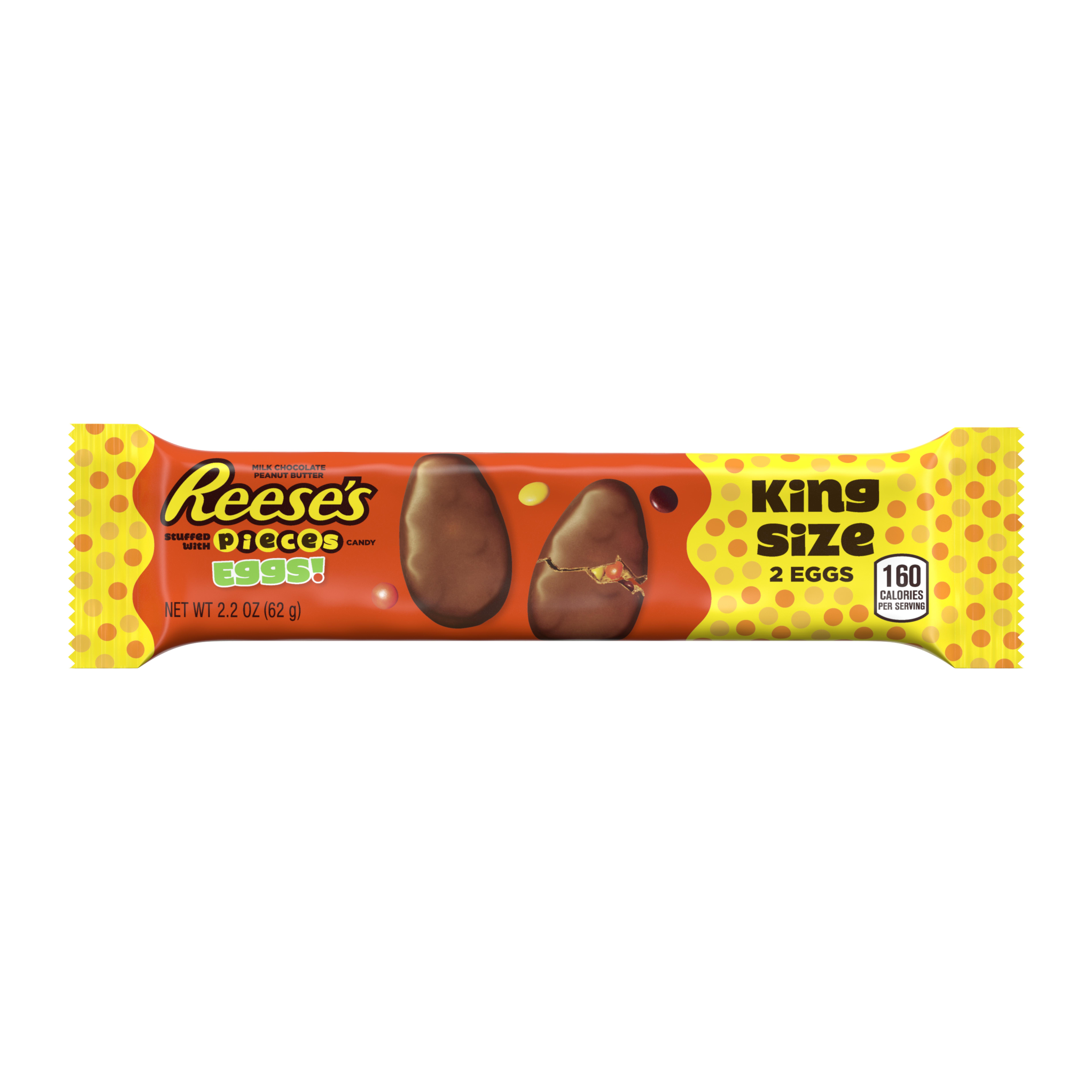Reese's, Easter Peanut Butter with Reese's Pieces Eggs King Size Candy, 2.2 Oz