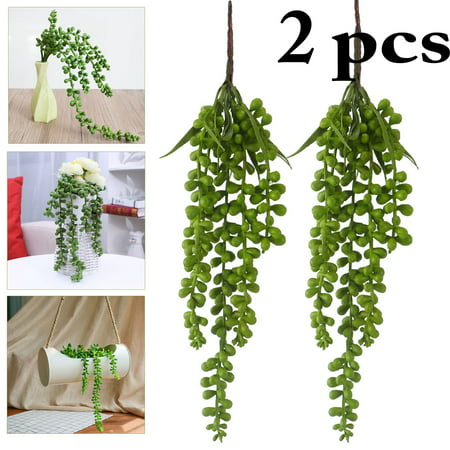 2Pcs Artificial Hanging Plant, Outgeek Fake Succulent String of Pearls Fake Hanging Vine for Wedding Party Home Garden Wall Decoration (Green)