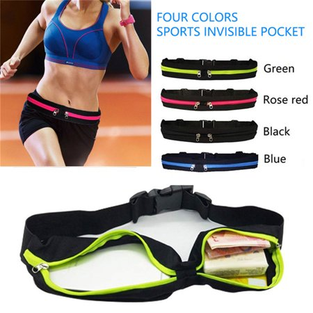 Running Waist Belt Pack Fanny Pack with 2 Expandable Pockets for Men and Women Hiking Jogging Walking Cycling etc, Sweatproof Rainproof Mobile Phone Pouch Bag
