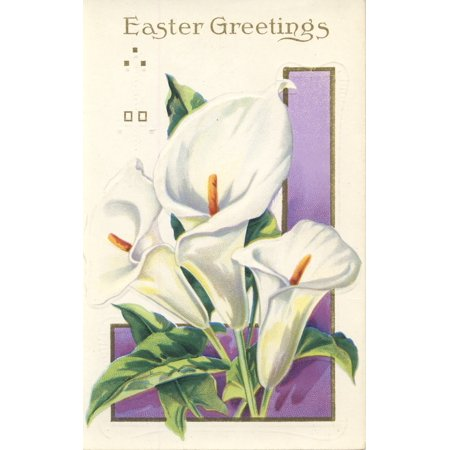 (Postcard nd Easter Greetings with Lilies Poster Print by Unknown)
