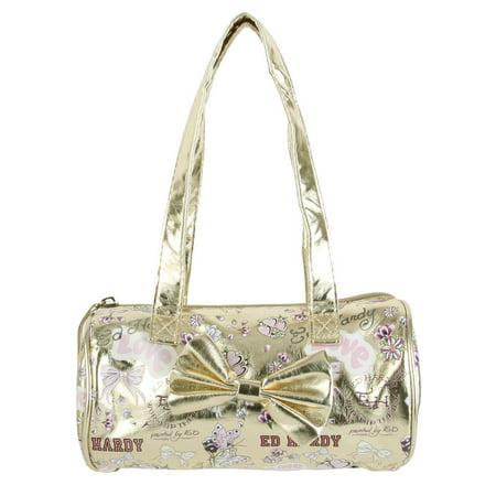 Ed Hardy Girls Alice Barrel Bag- Gold Beach Barrel Bag