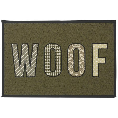 Designed Tapestry Placemat for Pet Feeding Station, 13-Inch by 19-Inch, WOOF, Olive/Black, The perfect compliment to your feeding station! By (Petrageous Designs Buddy's Best Feeder Sage)
