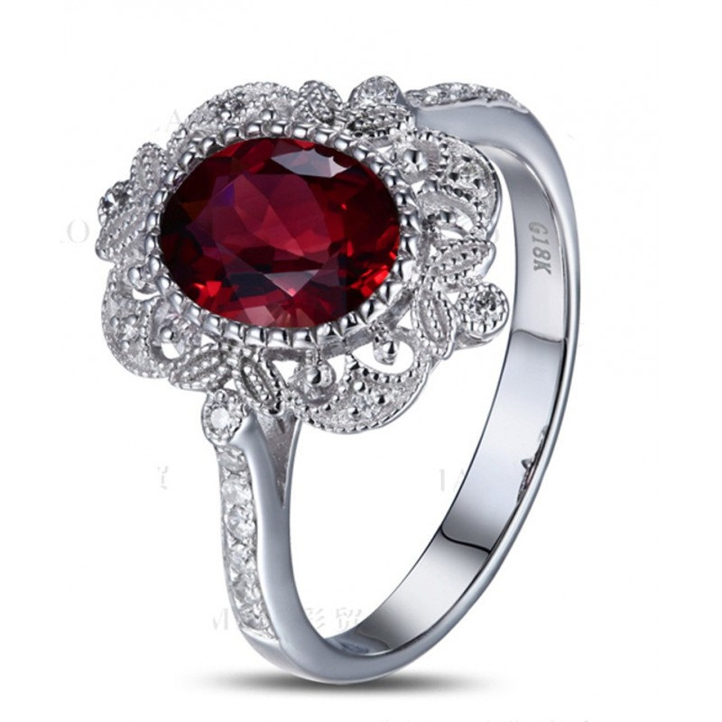 Jeenmata Vintage 1 50 Carat Ruby And Diamond Engagement Ring In 14k White Gold Affordable Ruby Diamond Engagement Ring Walmart Com Walmart Com
