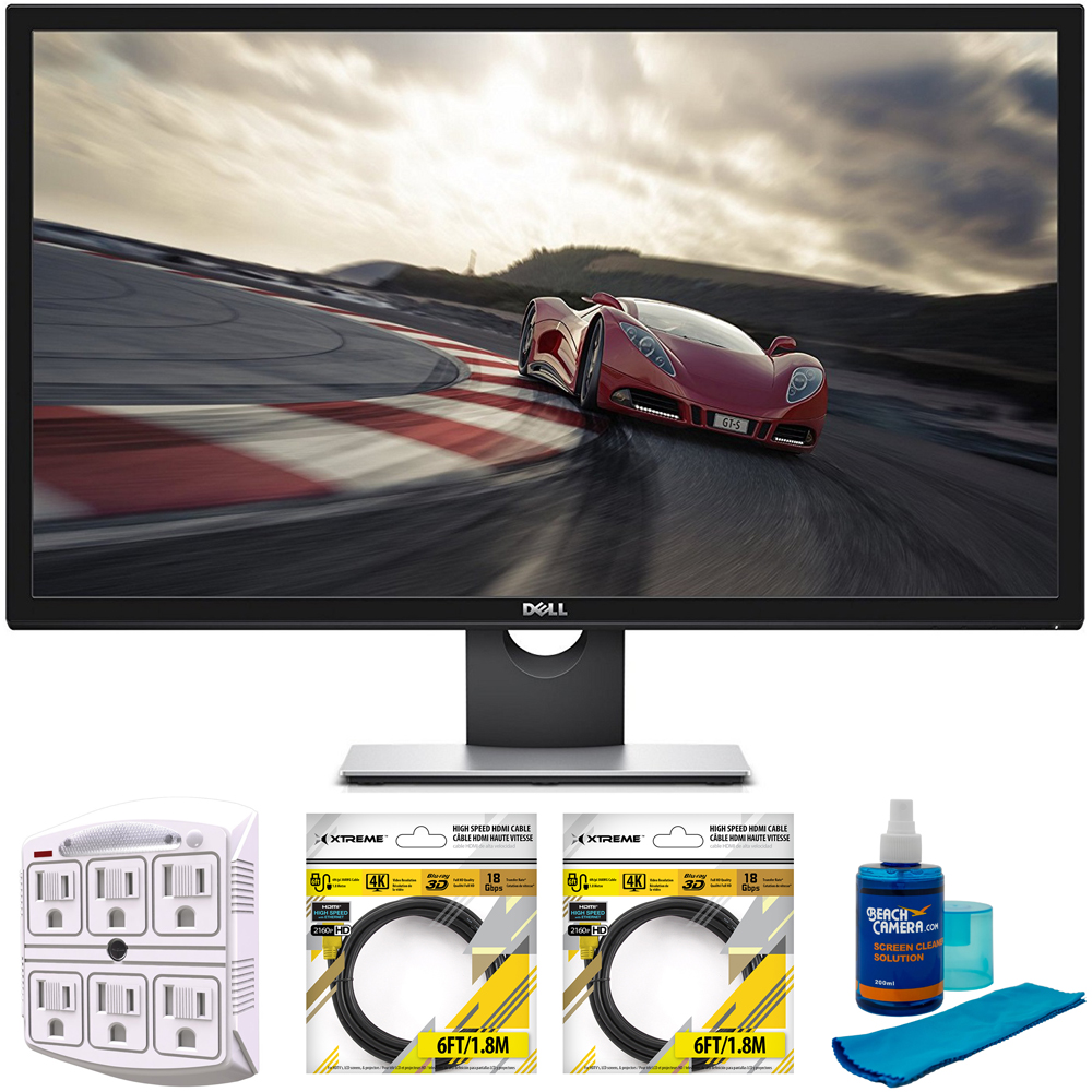 "Dell 28"" Ultra HD 4K 3840x2160 LED Backlit Monitor (S2817Q) with Stanley SurgePro 6 NT 750 Joule 6-Outlet Surge Adapter, 2x 6ft High Speed HDMI Cable & Beach Camera Screen Cleaner  for LED TVs"