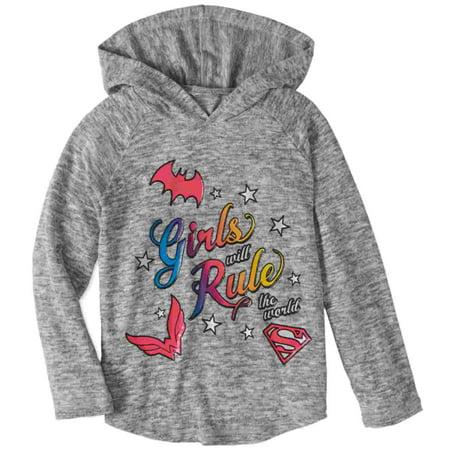 DC Comics Girls Gray Girls Rule the World Hoodie Wonder Woman Batgirl T-Shirt (Batgirl Hoodie)