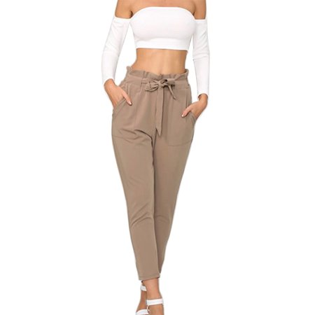 Nicesee Women Pants High Waist Long Casual Cropped Loose Trousers