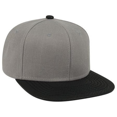 Leather Twill (OTTO Wool Blend Twill w/ Faux Leather Square Flat Visor 6 Panel Baseball Cap - Blk/Gry )