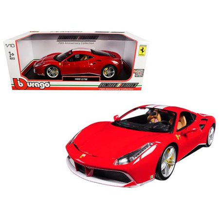Bburago 76102 1 isto 18 Ferrari 488 GTB 70th Anniversary The Schumacher Diecast Model Car, Red with White Stripes