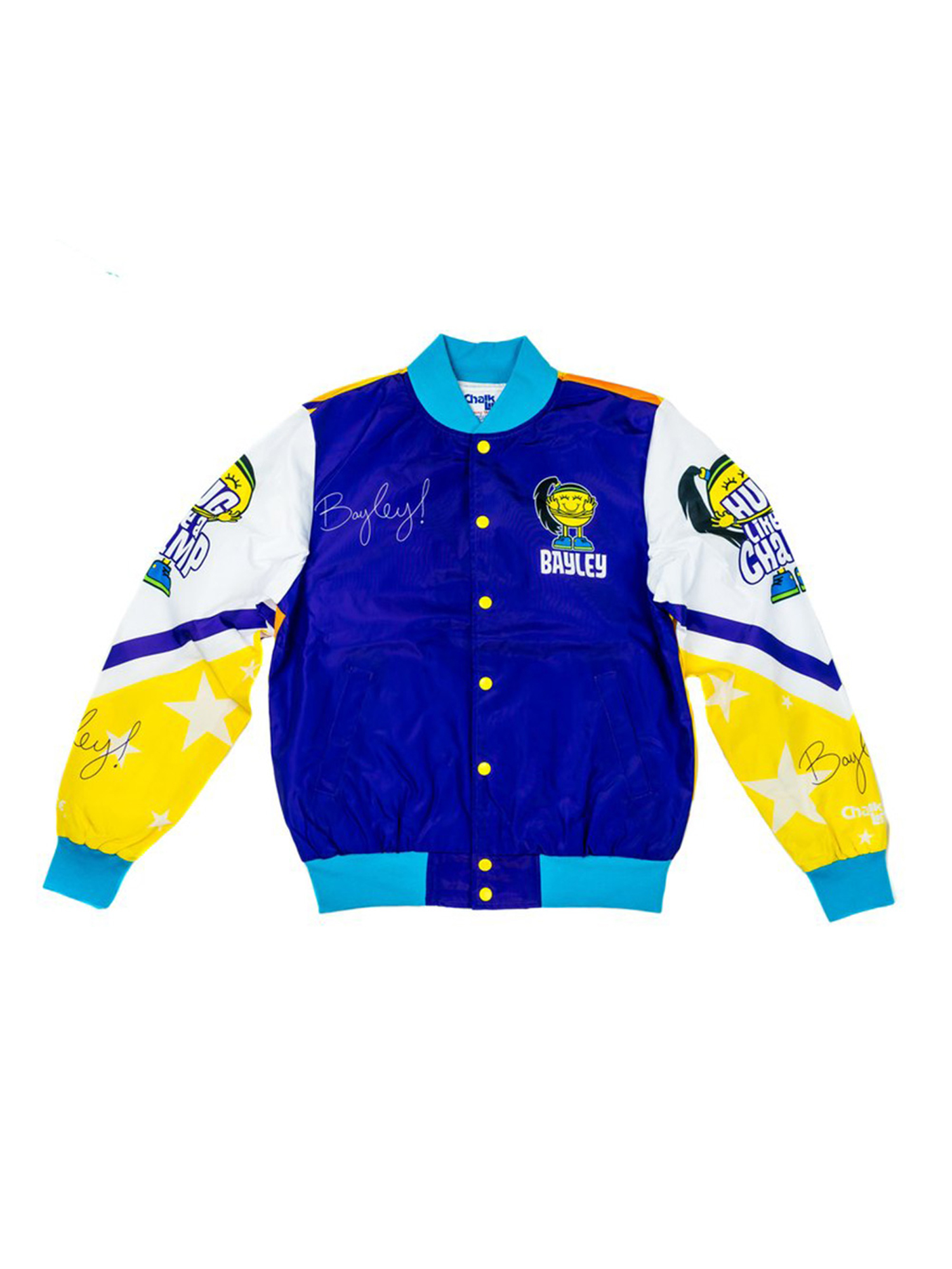 Official WWE Authentic Bayley Vintage Fanimation Jacket Blue Yellow White by