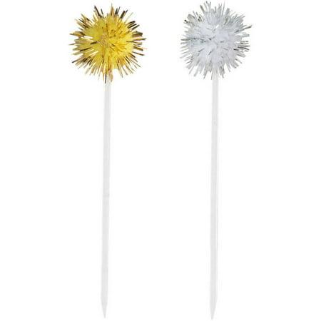Silver and Gold Pom Pom Toothpicks, 8ct](Plastic Toothpicks)