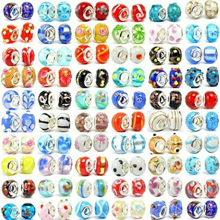 Buckets of Beads Ten Assorted Colored Murano Glass Bead Charms - Colored Metal Buckets