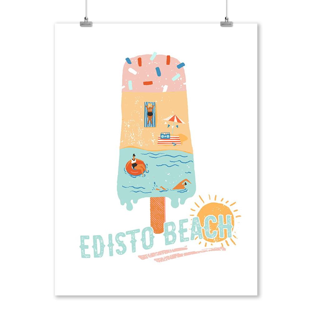 Edisto Beach, South Carolina - Summer Popsicle Scene - Lantern Press Artwork (9x12 Art Print, Wall Decor Travel Poster)