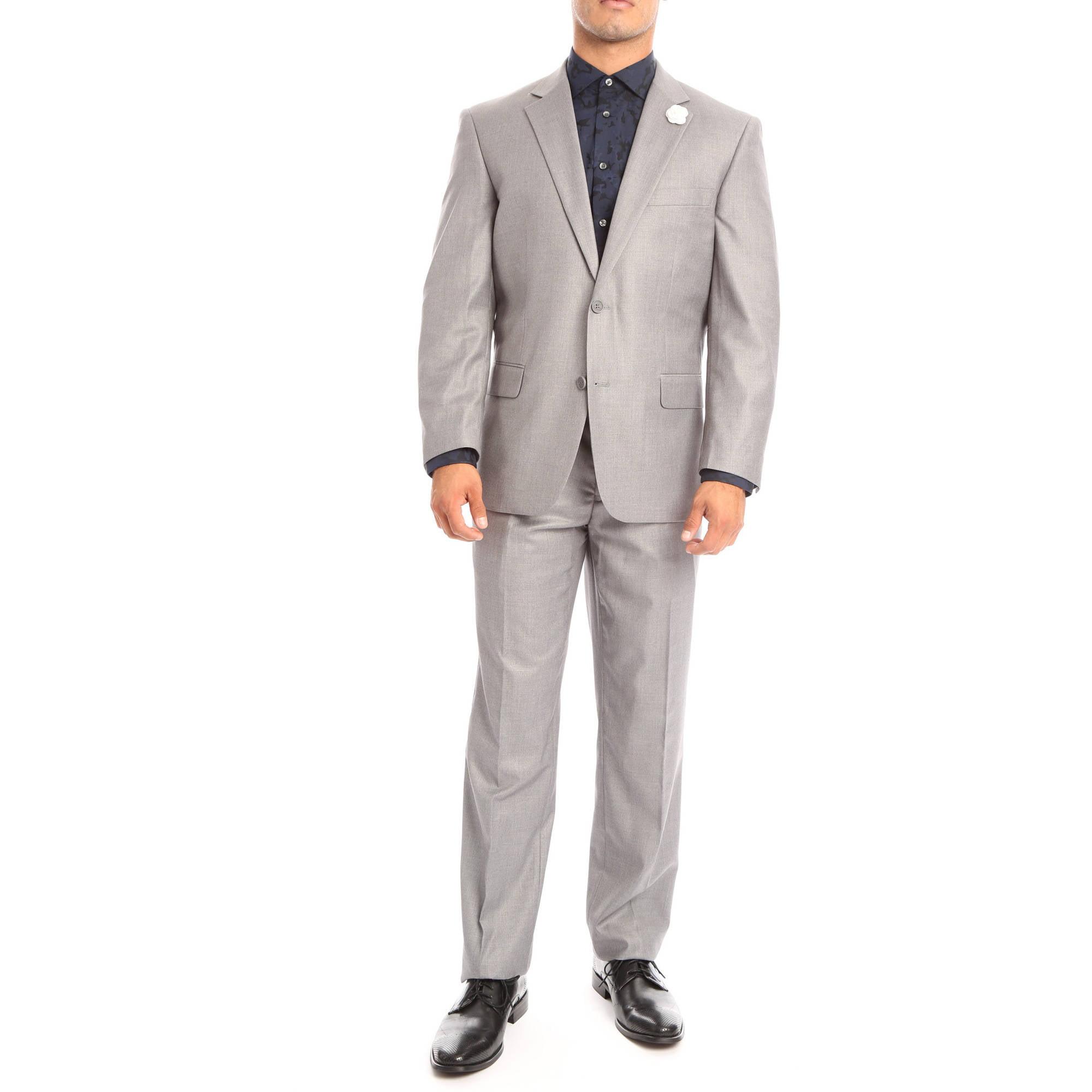 Verno Bellomi Men's Light Grey Slim Fit Italian Styled Two Piece Suit