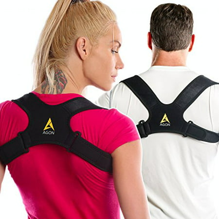 Agon Posture Corrector Clavicle Brace Support Strap, Posture Brace Medical Device to Improve Bad Posture, Thoracic Kyphosis, Shoulder Alignment Upper Back Pain Relief for Men and Women (Small/Medium) Adj Back Strap
