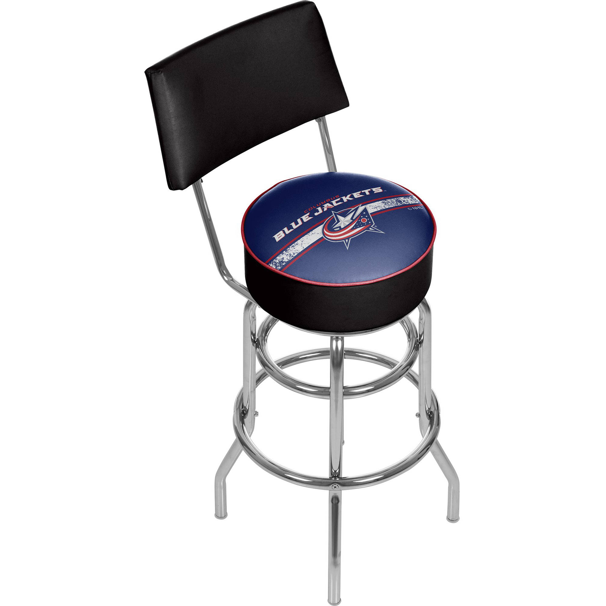 NHL Swivel Bar Stool with Back, Columbus Blue Jackets