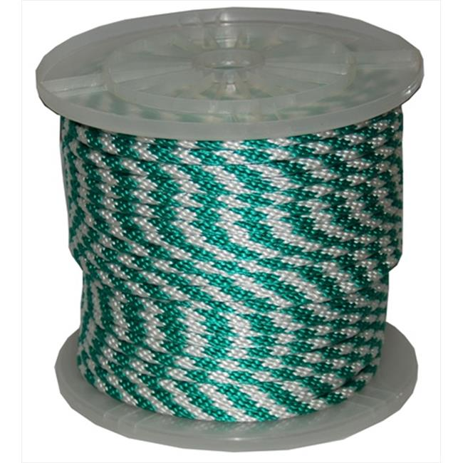T.W. Evans Cordage 98019 .625 in. x 200 ft. Solid Braid Propylene Multifilament Derby Rope in Green and White