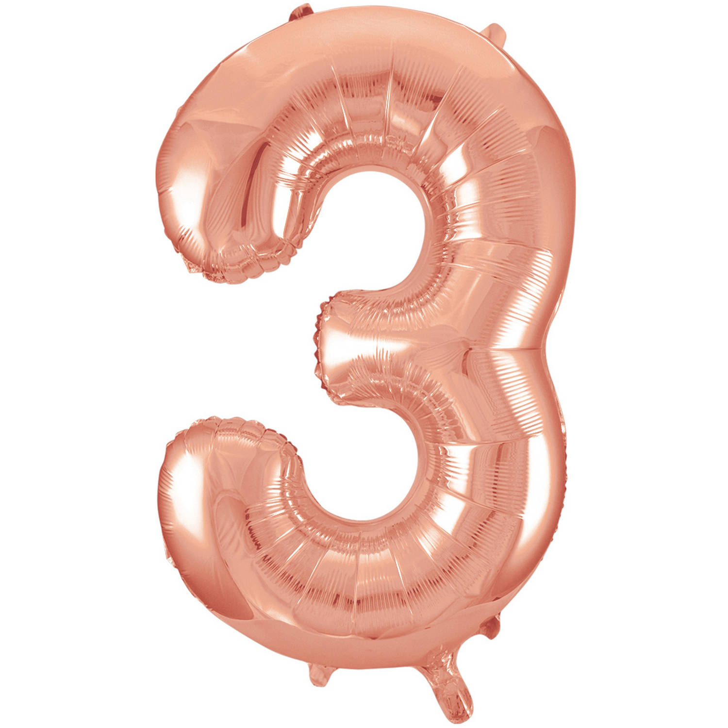 Foil Big Number Balloon, 3, 34 in, Rose Gold, 1ct