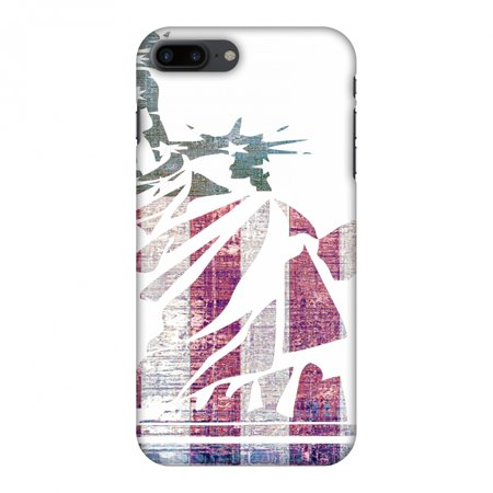 iPhone 8 Plus Case - Statue of liberty- USA flag, Hard Plastic Back Cover, Slim Profile Cute Printed Designer Snap on Case with Screen Cleaning Kit