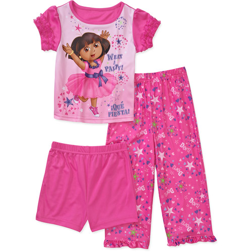 Nickelodeon Baby Girls' Dora 3-Piece Pajama Set